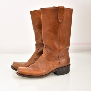 Vintage Sears Brown Leather Square Toe Boots